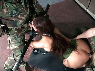 Two Hook-up-thirsty Soldiers Fucks Restrained Chesty Mummy Syren De...