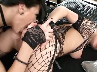 Lean Blonde Hoe In Fishnets Gets Her Asshole Straponed By Mistress